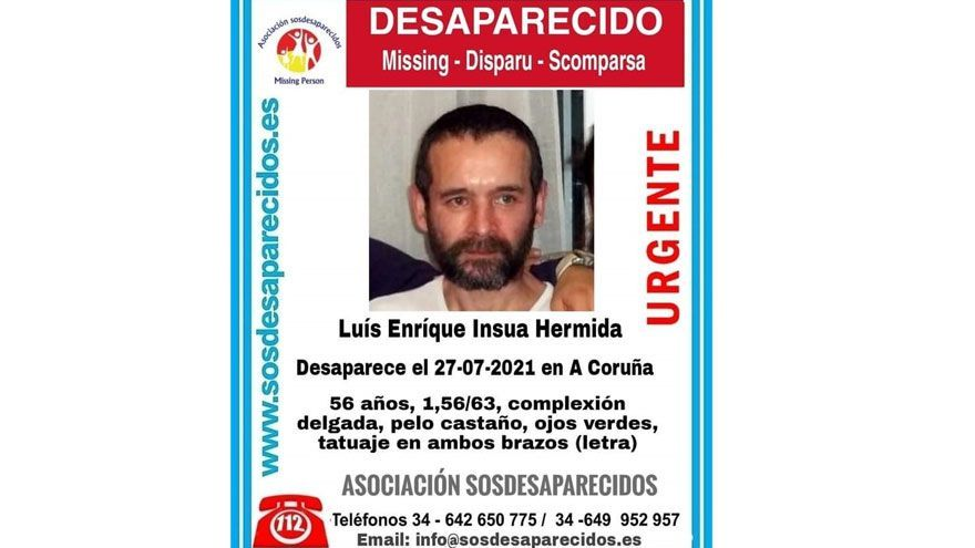 Desaparecido un hombre de 56 años en A Coruña desde finales de julio
