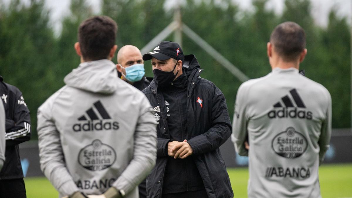 Coudet, en un entrenamiento con el Celta.