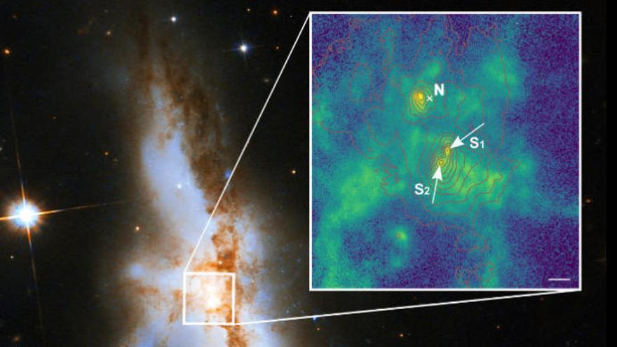 Encuentran 3 agujeros negros supermasivos en galaxias que se están fusionando