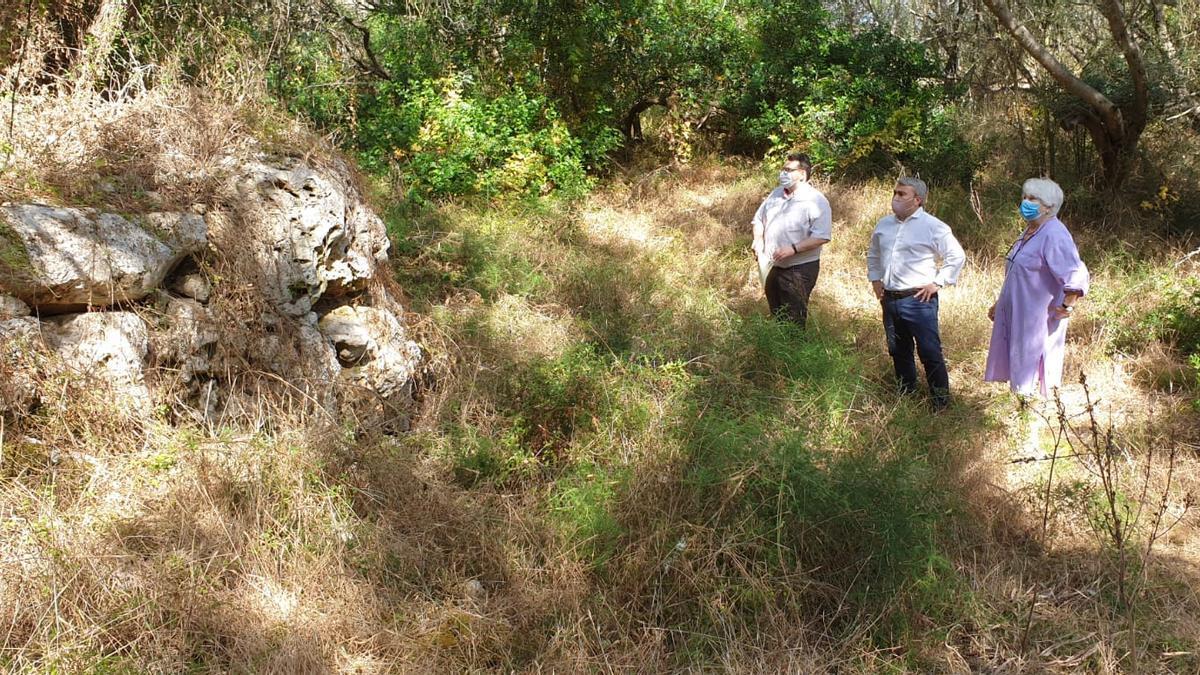 El regidor Andreu Caballero y el alcalde Virgilio Moreno visitan el yacimiento con la propietaria de la finca.
