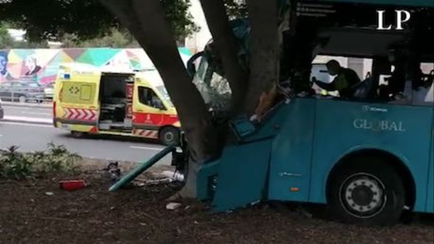 Una guagua sin pasajeros se sale de la carretera en Miller Bajo y se estrella contra un árbol
