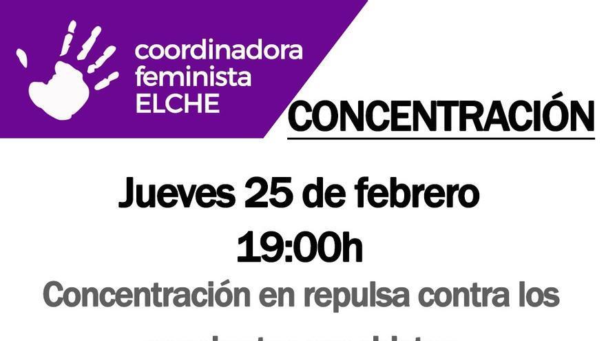 Concentración contra la violencia de género este jueves en Elche a las 19 horas en la Plaça Baix