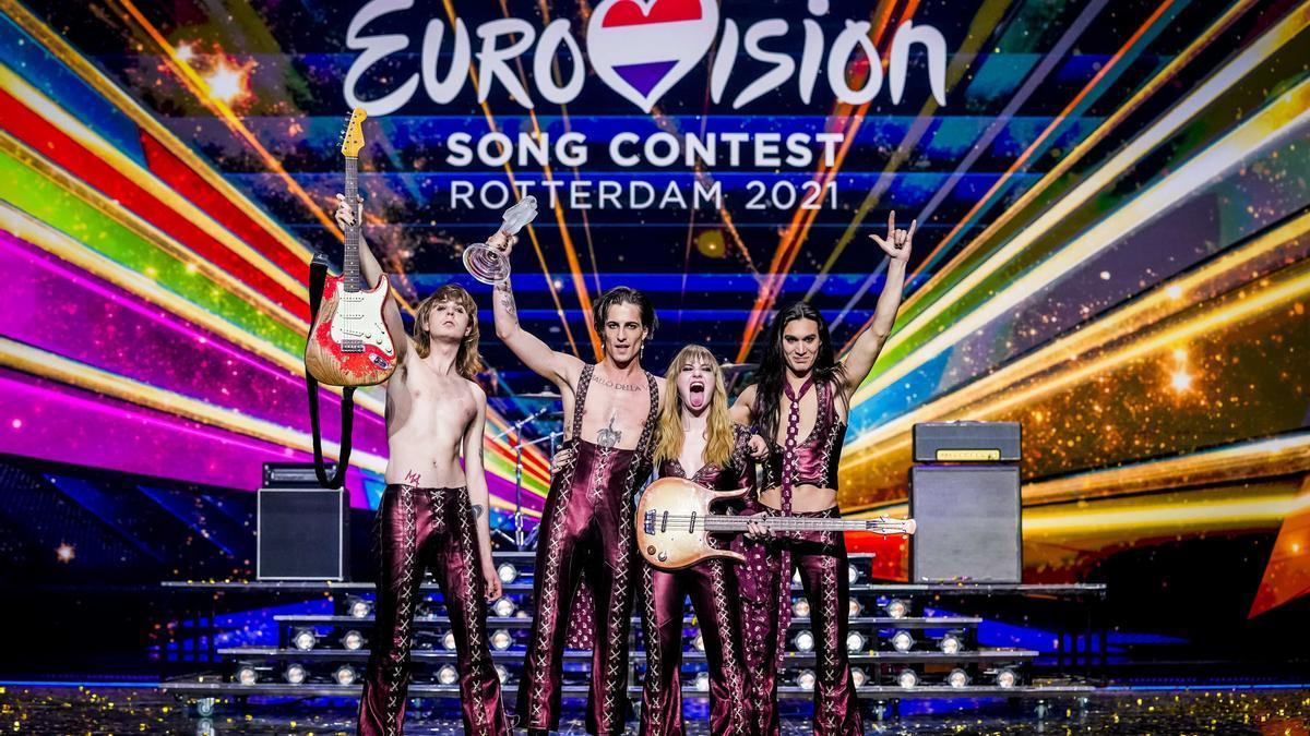 Membres del grup italià Maneskin, guanyadors del Festival d'Eurovisió 2021