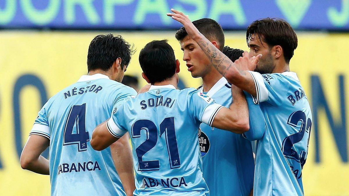 Los jugadores del Celta celebran uno de los goles ante el Villarreal.