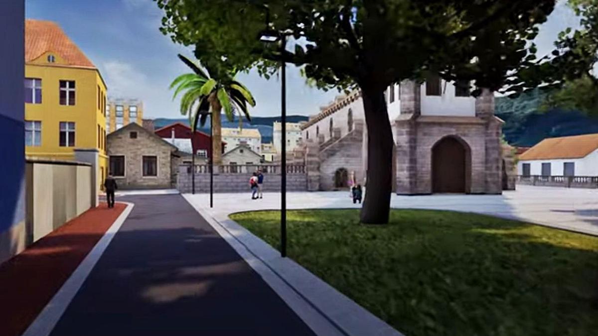 Recreación del aspecto que tendrá el entorno de la iglesia parroquial de Pola de Laviana tras las obras.