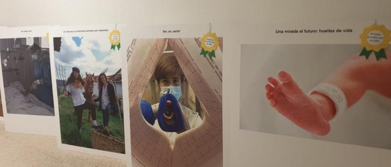 Algunas de las fotografías expuestas en el San Agustín, en primer término las ganadoras.