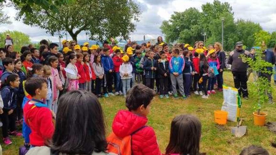 Abrazo al río Limia por parte de alumnos de Xinzo y Ponte de Lima
