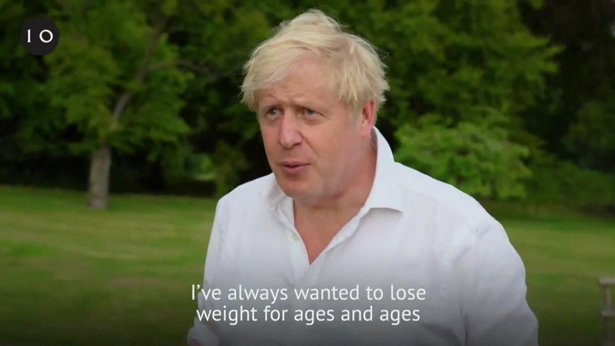 Johnson lanza una campaña contra la obesidad y dice que cuando se infectó del virus pesaba demasiado