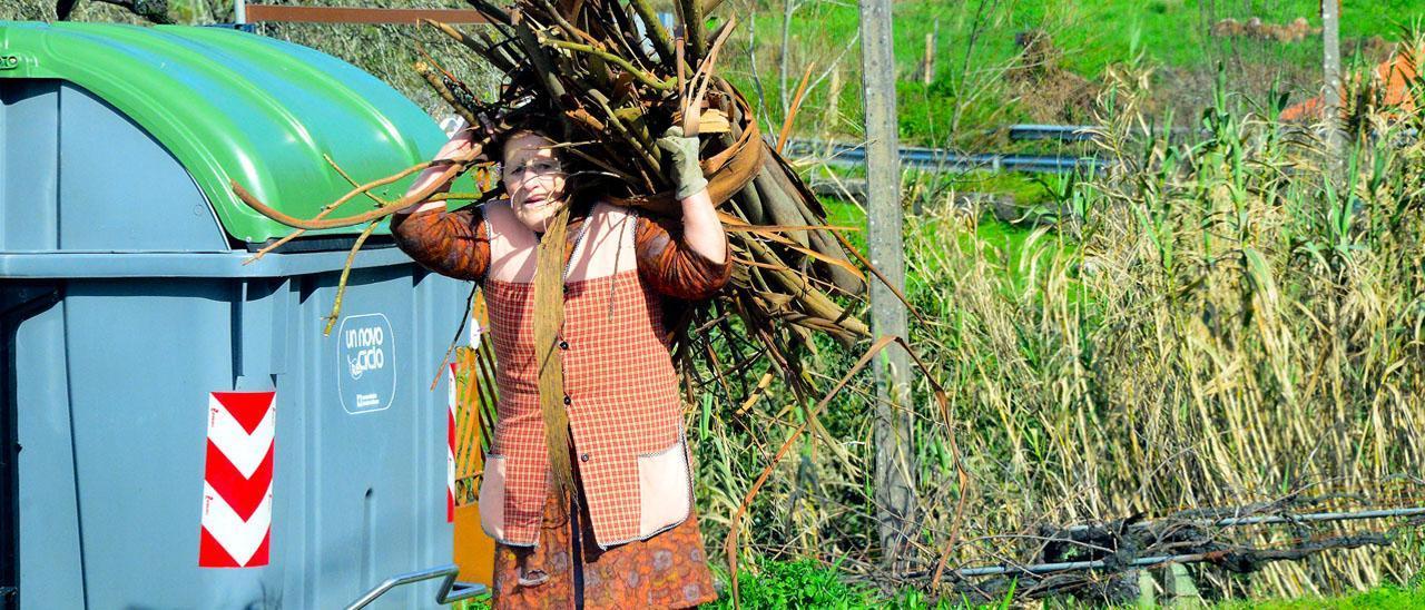 Una mujer transportando leña en el rural gallego