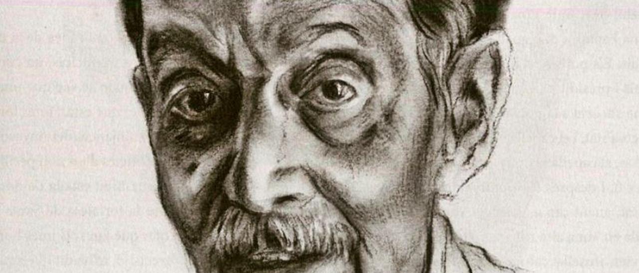 Retrato del escritor Enric Valor, obra de Pepe Azorín.