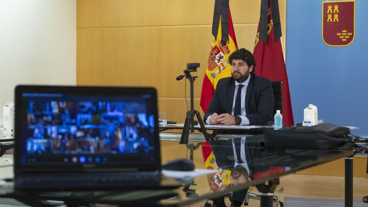 El presidente regional, durante su reunión autonómica de hoy.