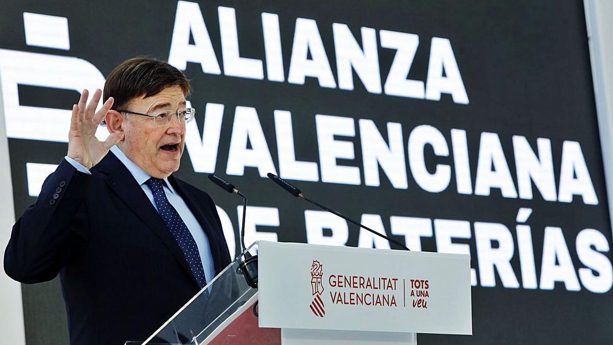 El presidente Puig durante la presentación del proyecto valenciano para la gigafactoría. | M.A. MONTESINOS