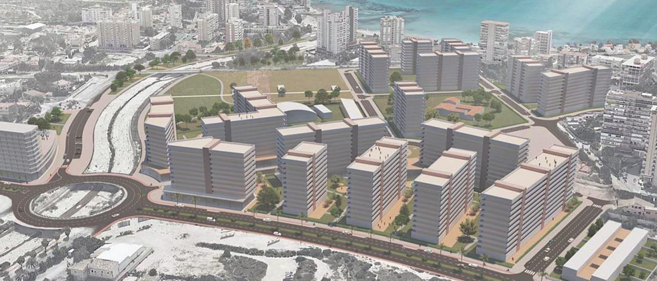 Representación de la actual propuesta de edificación para la Albufereta realizada por las empresas Aliseda, Culmia y TAMA Studio.   INFORMACIÓN