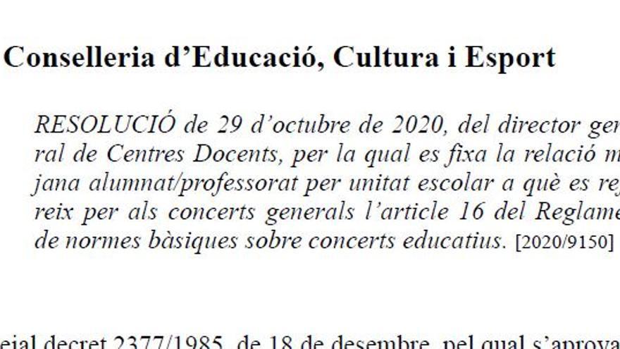 Ratio para concertar unidades escolares por municipios.