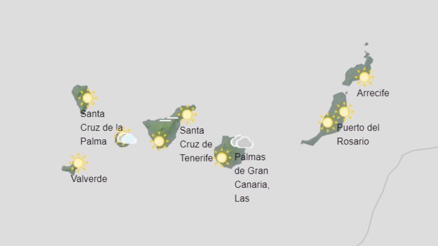 Predominio de cielos nubosos este jueves en Canarias