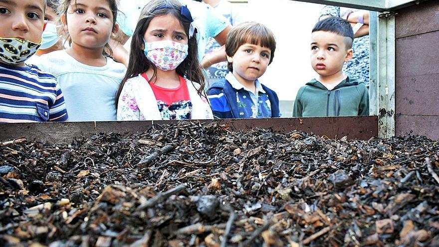 Los niños aprenden a compostar