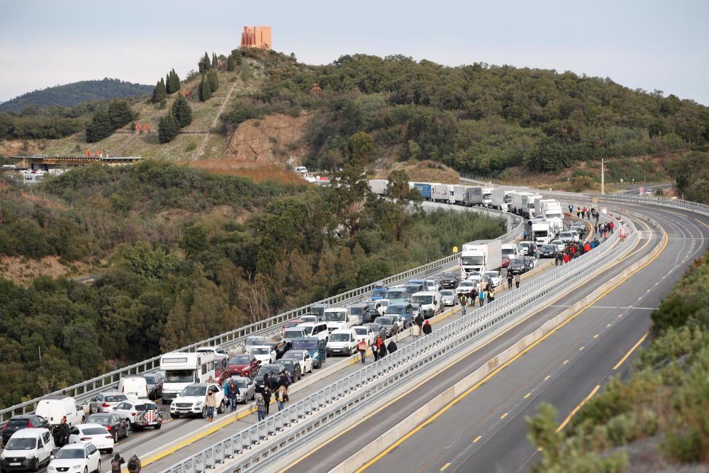 Protesta independentista en La Jonquera