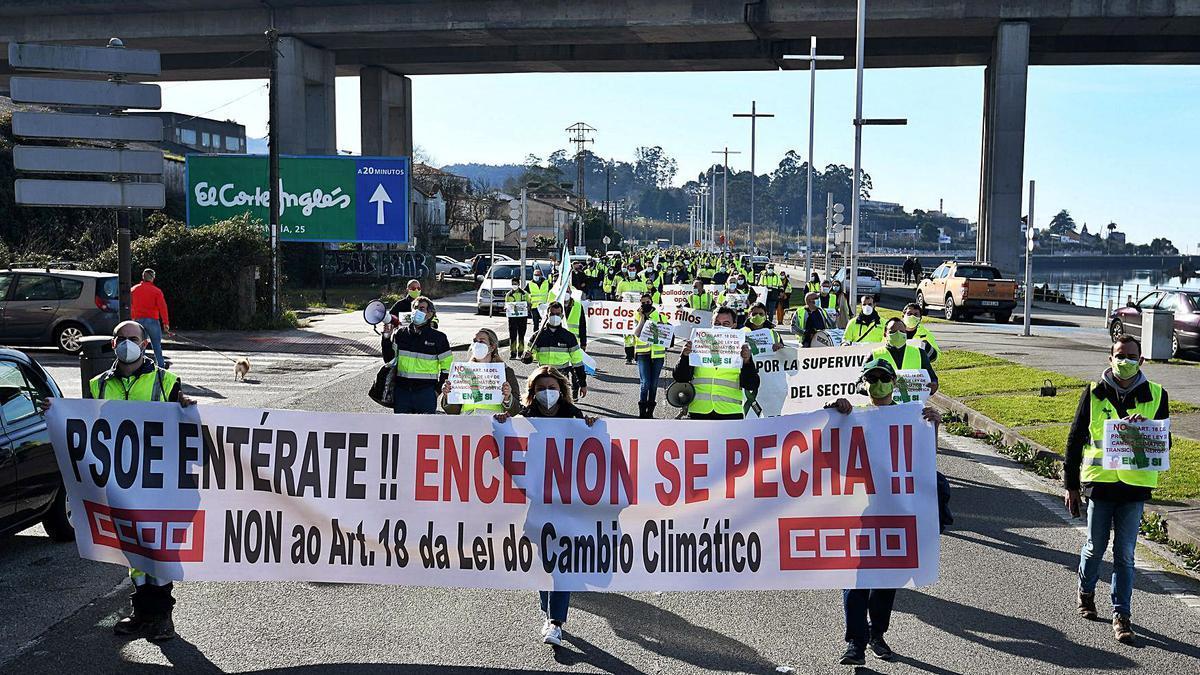 Una de las protestas de los trabajadores de Ence. |   // G. SANTOS