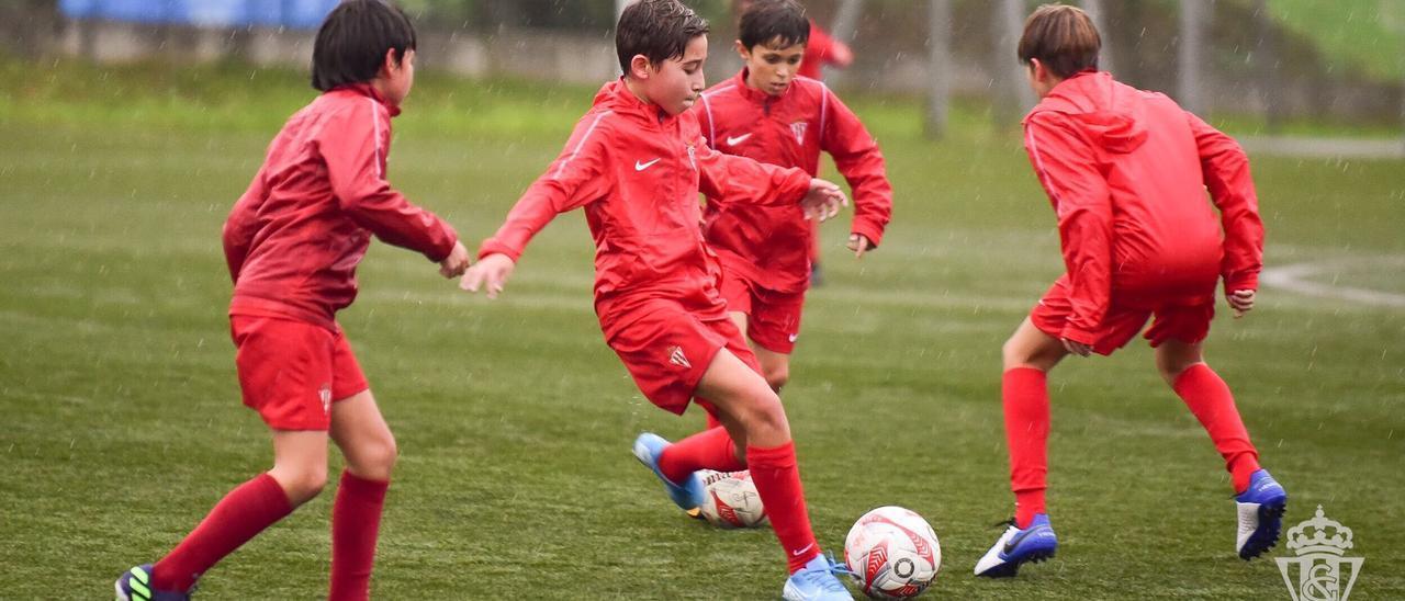 Jugadores de las categorías inferiores del Sporting entrenando en Mareo