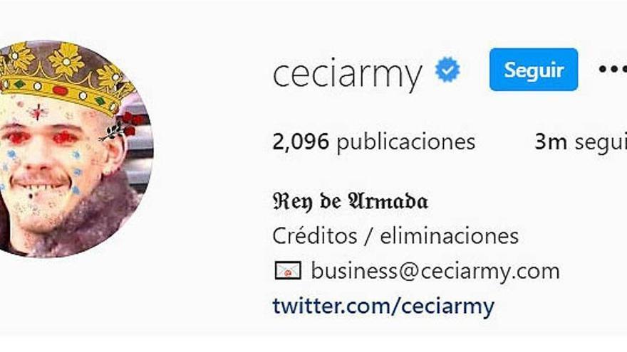 Ceciarmy recupera el seu Instagram i arriba als tres milions de seguidors
