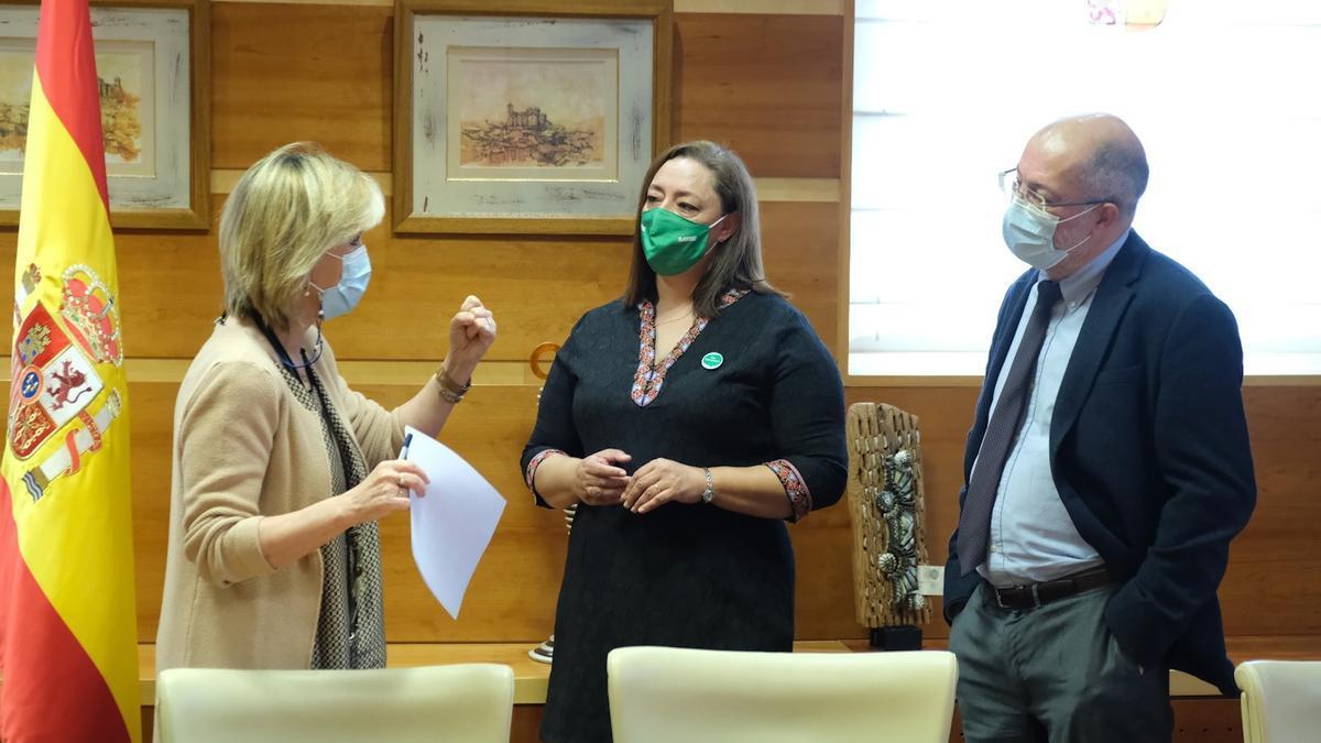 Verónica Casado, Mercedes Gago y Francisco Igea, en la Junta