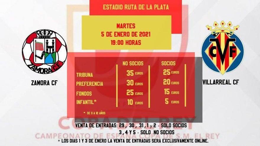 El Zamora pone a 35 euros las entradas más caras para el Villarreal