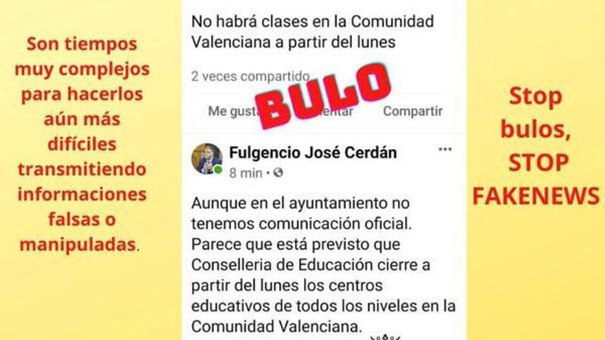 El alcalde de Villena alerta sobre el bulo de la suspensión de las clases el próximo lunes