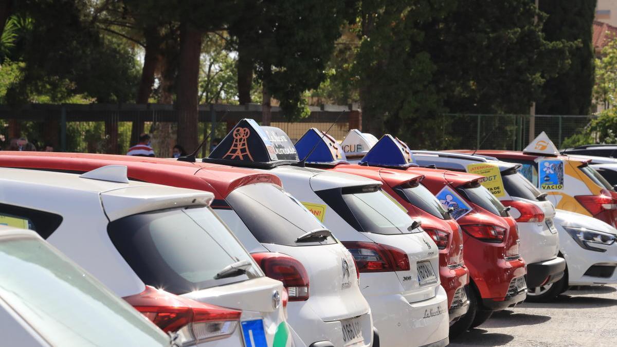 Un grupo de vehículos de distintas autoescuelas, en la manifestación que realizaron el año pasado en contra de la escasez de examinadores.