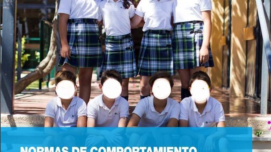 El manual de comportamiento del CEU Jesús María se ilustra con niñas con la falda más corta de lo estipulado