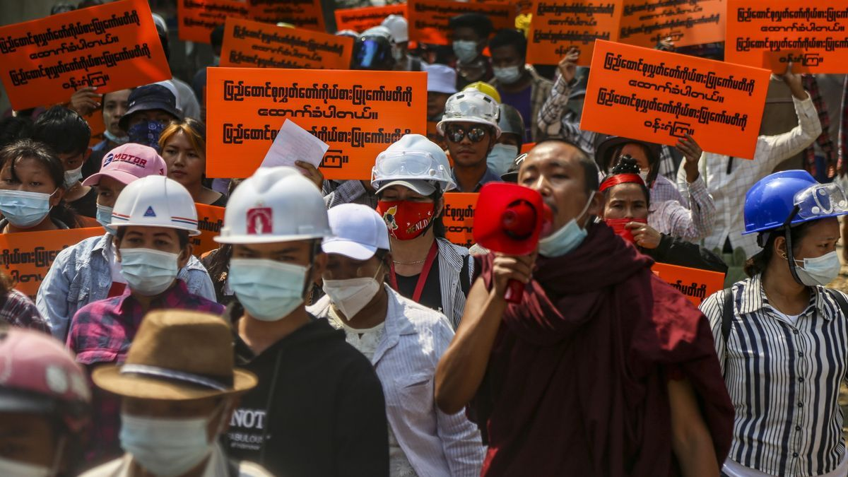 Imagen de las protestas en Birmania