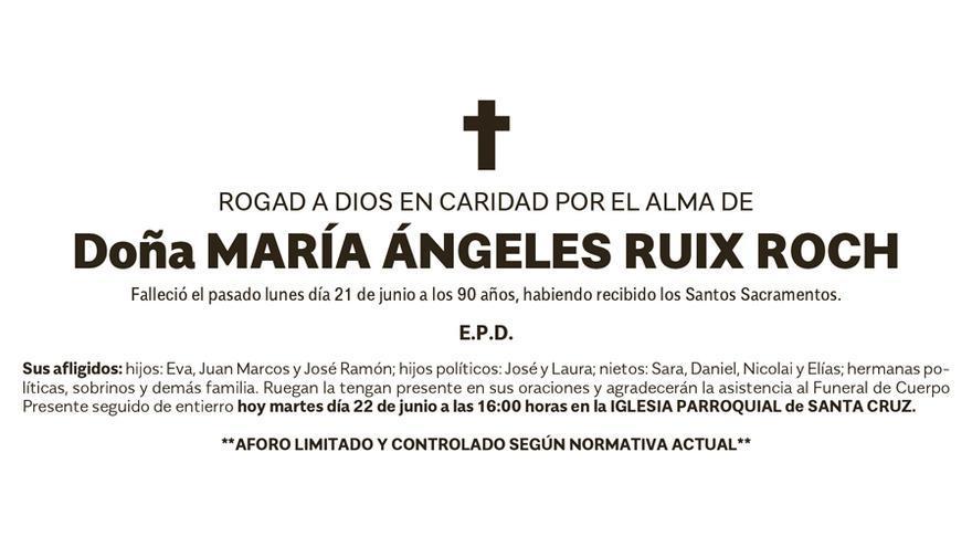 Esquela María Ángeles Ruix Roch