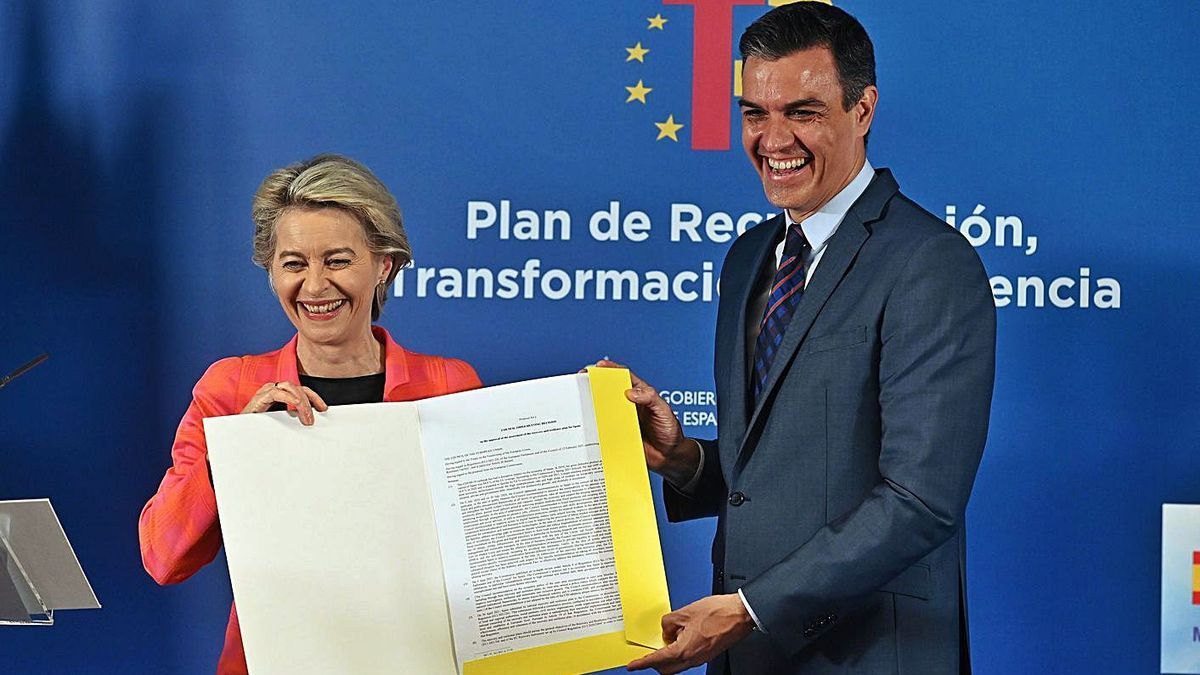 Von der Leyen i Sánchez mostren el pla de recuperació espanyol. | EFE