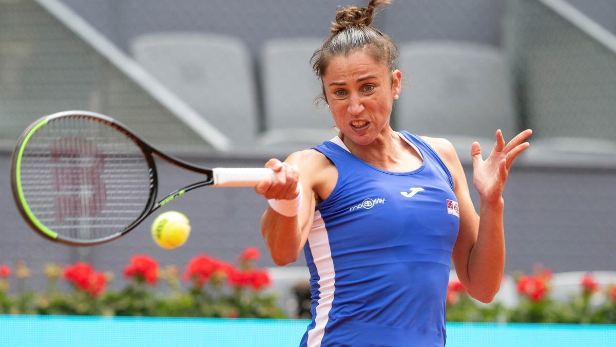 Sara Sorribes no pudo con Simona Halep en Madrid.