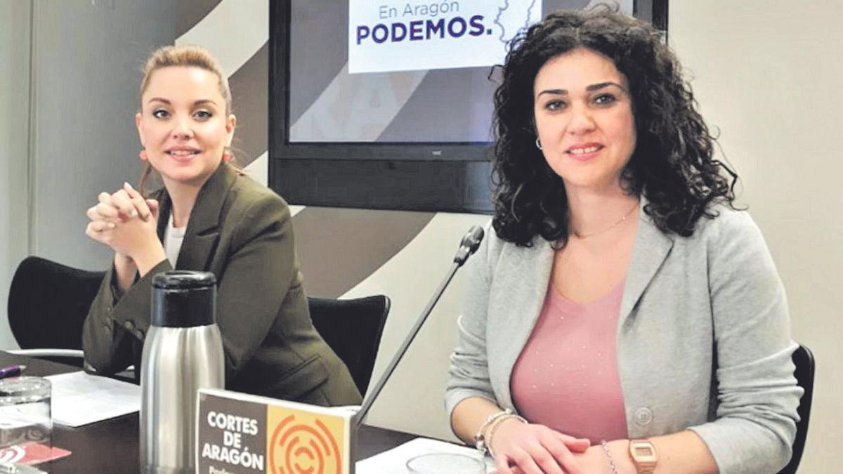 Imagen de archivo de Maru Díaz y Erika Sanz, en las Cortes de Aragón, en 2018.