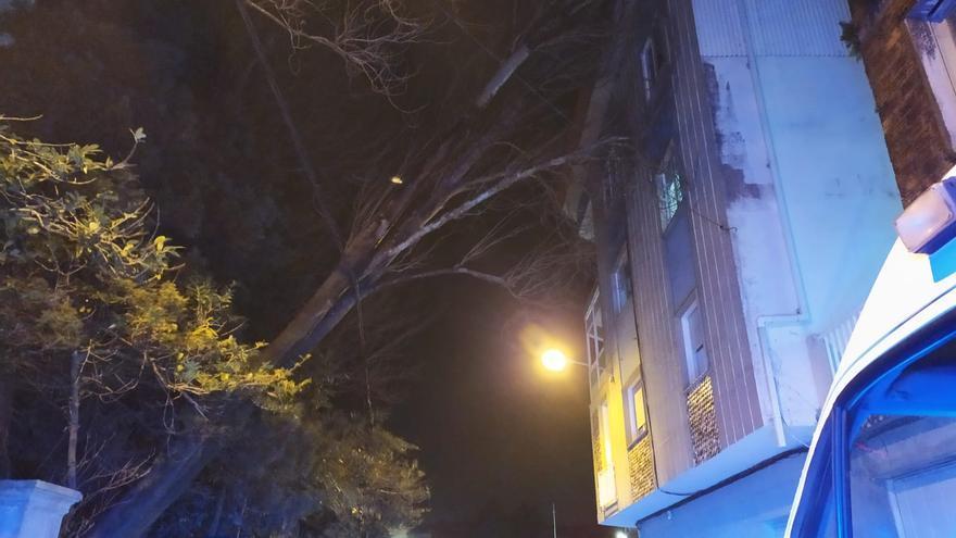 La fuerza del viento derriba un árbol centenario sobre un edificio de Cambados y provoca una avería eléctrica en Armenteira