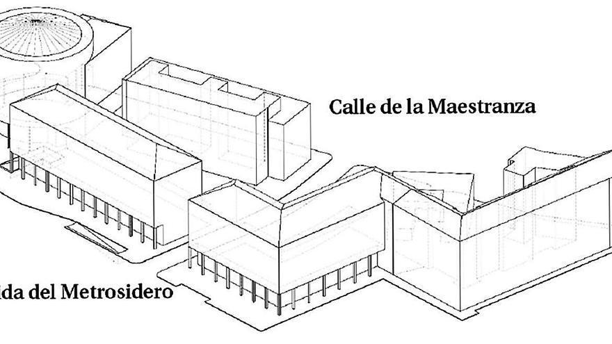 Edificios proyectados en A Maestranza, uno de 86 metros de fachada, se verán desde Oleiros