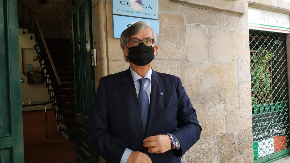 Juan M. Vieites tras se elegido nuevo presidente de la Confederación de Empresarios de Galicia. // Xoán Álvarez