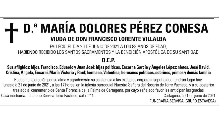 Dª María Dolores Pérez Conesa