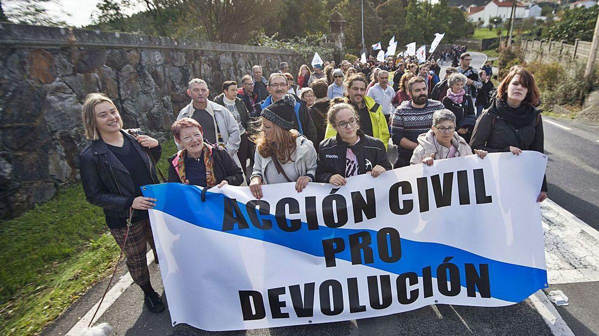 Manifestación en 2018 para exigir la devolución del pazo de Meirás