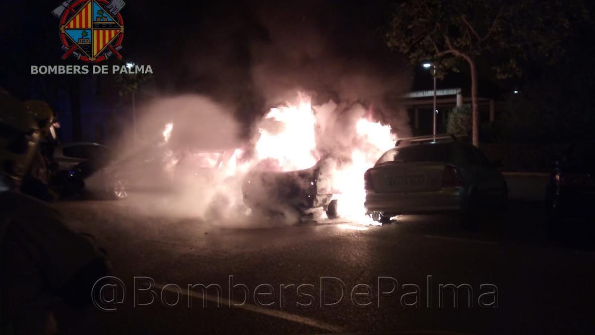 Los bomberos, durante la extinción del fuego en la calle Gabriel Alzamora.