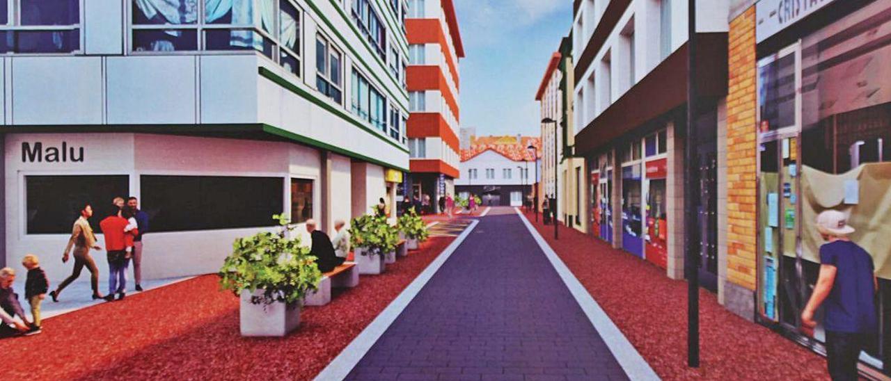 Recreación virtual de la calle Menéndez Pidal de Pola de Laviana tras las obras.