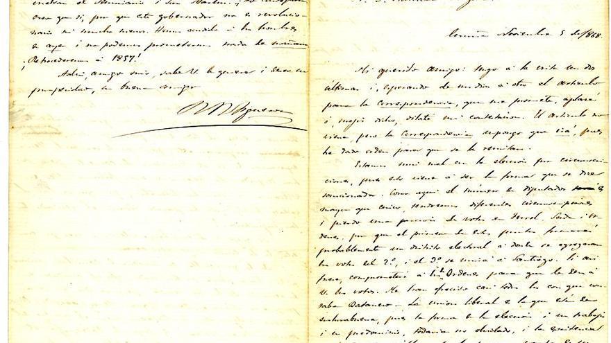 O valioso epistolario entre o enxeñeiro de minas Ramón Rúa-Figueroa e Manuel Murguía
