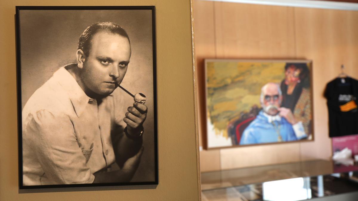 Un retrato de Miguel Labordeta, en la Fundación José Antonio Labordeta.