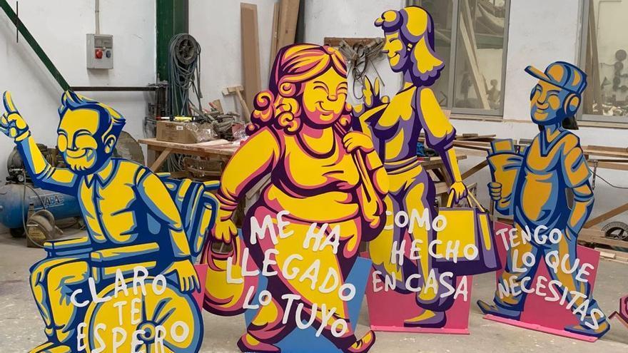 Esculturas urbanas para atraer la atención sobre el comercio local en Buñol