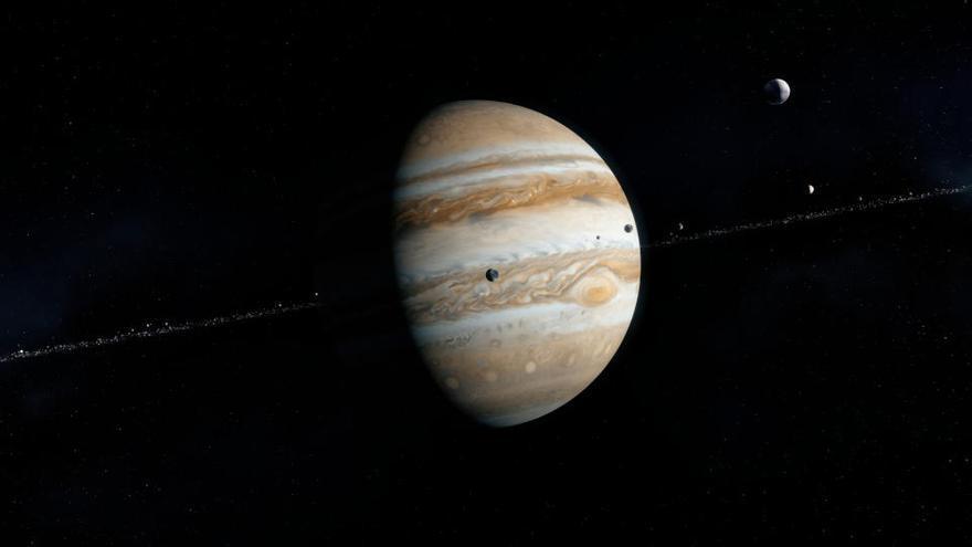 Un enorme cráter sin parangón se dibuja en la superficie de Ganímedes