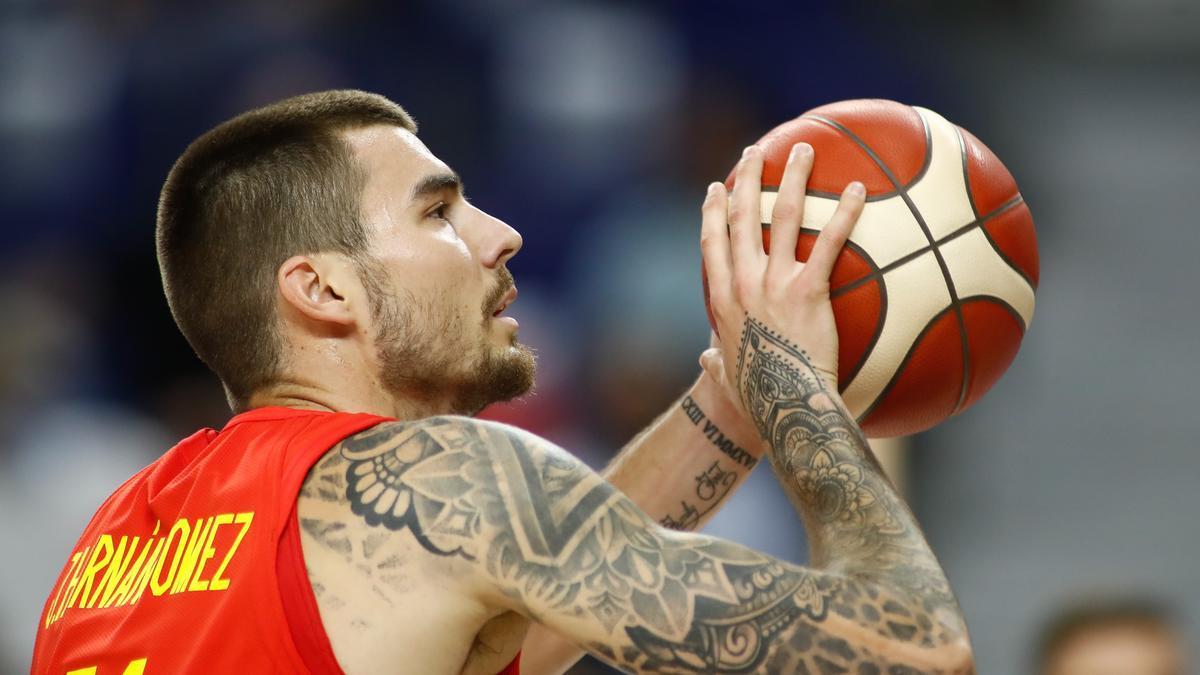 Juancho Hernangómez en un partido con la selección española de baloncesto.