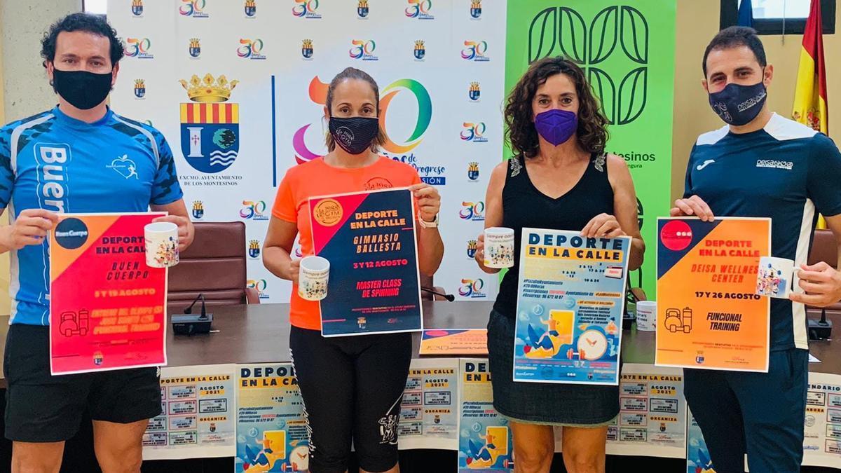 Imagen de la presentación de la iniciativa con la edil Ana Belén Juárez y los responsables de los gimnasios participantes