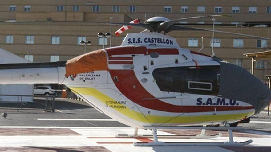 Rescatan en helicóptero a un varón accidentado en Ludiente