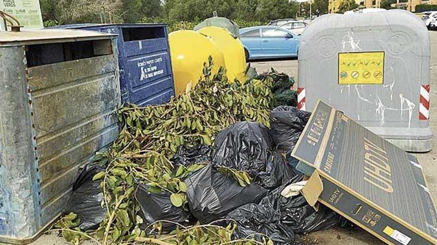 Llucmajor sancionará con multas de hasta 3.000 euros por tirar restos de poda en los contenedores