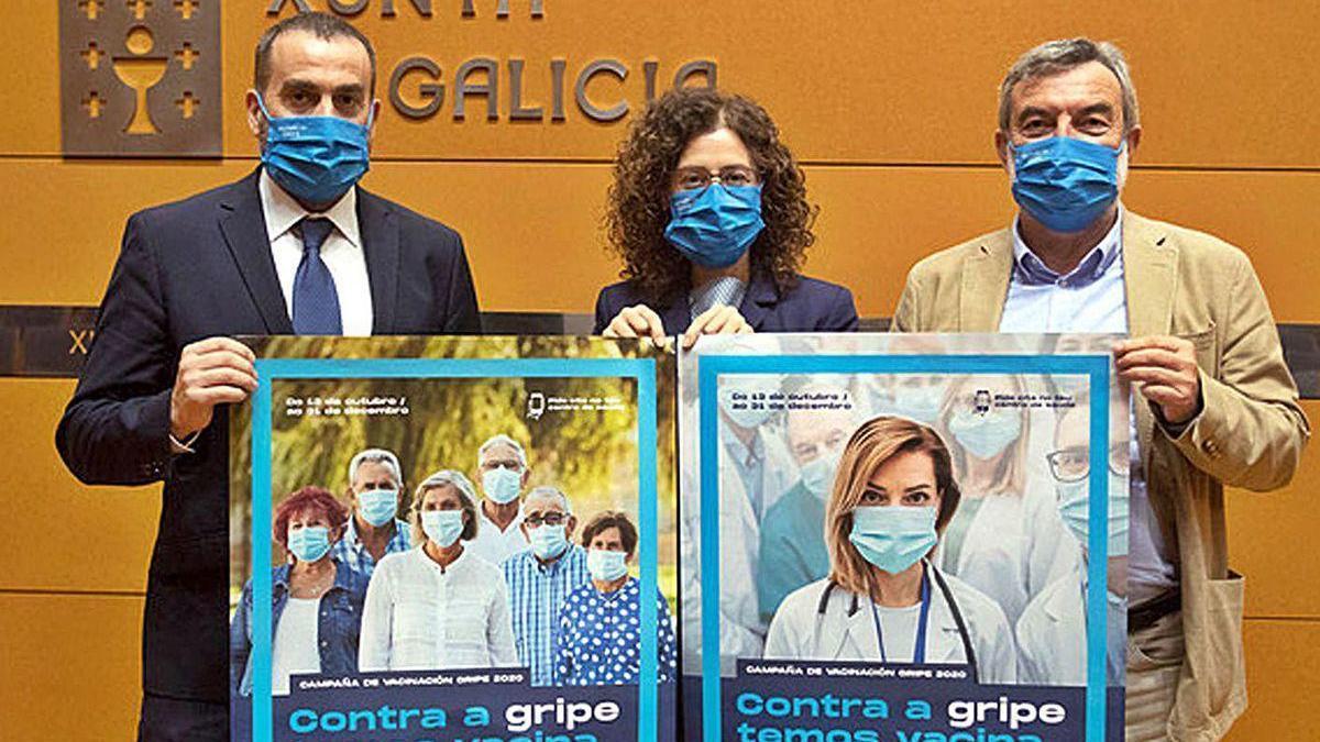 Jorge Aboal, Carmen Durán y José A. Taboada presentan la campaña, ayer, en Santiago.